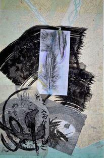 Collage, Japanpapier, Shizuoka, Kalligrafie