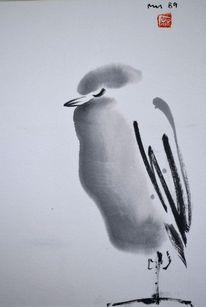 Japanpapier, Zeichnung, Vogel, Sumi