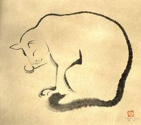 Zeichnung, Katze, Sumi, Malerei