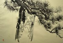 Japantusche, Japanpapier, Sumi, Malerei