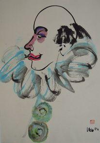 Zeichnung, Sumi, Clown, Tusche
