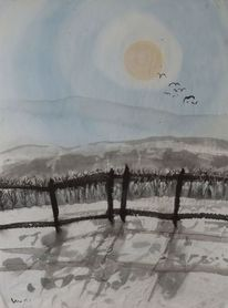 Zaun, Sonne, Landschaft, Malerei