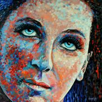 Modern, Realismus, Portrait, Kunstdruck