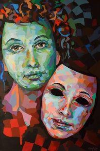 Spachteltechnik, Porträtmalerei, Acrylmalerei, Malerei