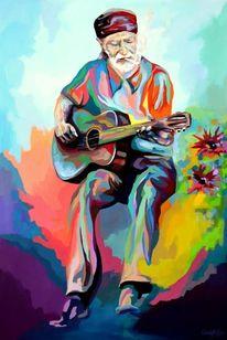 Acrylmalerei, Porträtmalerei, Hippie, Expressionismus