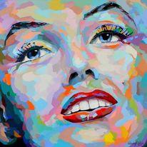 Bunt, Porträtmalerei, Farben, Spachteltechnik