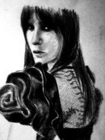 Frau, Kohlezeichnung, Portrait, Rücken