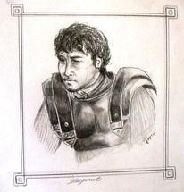 Mann, Bleistiftzeichnung, Römer, Kämpfer