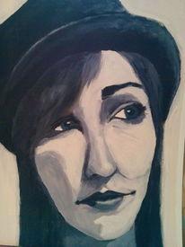 Schwarz weiß, Portrait, Hut, Malerei