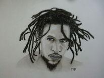 Reggae, Portrait, Musikant, Pastellmalerei