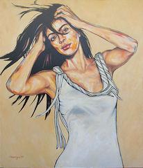 Portrait, Mädchen, Gemälde, Frau