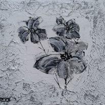 Blumen, Spachteltechnik, Schwarz weiß, Malerei