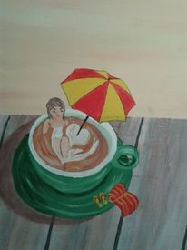 Frau, Cappoccino, Sonnenschirm, Terrasse