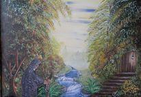 Fluss, Hütte, Wald, Malerei