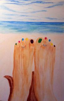 Meer, Himmel, Fuß, Strand