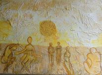 Menschen, Abstrakt, Strand, Malerei