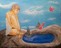 Schmetterling, Tagtraum, Brunnen, Fantasie