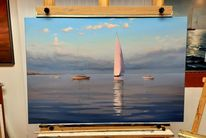 Wasser, Ölmalerei, Landschaft, Sonnenlicht