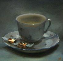 Malerei, Blumen, Ölmalerei, Tasse