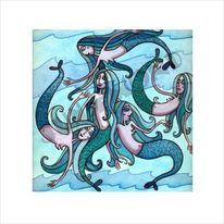 Meerjungfrau, Wasser, Blau, Nixe