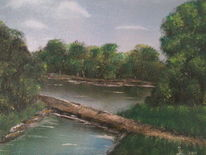 Landschaft, Waldsparziergang, Ölmalerei, Malerei