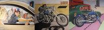 Öl acryl harley, Davidson motorrad, Malerei