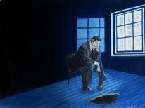 Blau, Mann, Fenster, Depression
