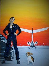 Beagle, Flughafen, Flugzeug, Frau