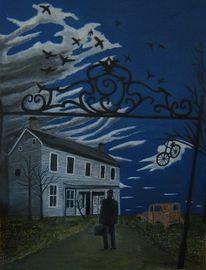 Haus, Wolken, Fahrrad, Malerei