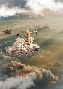 Fantasie, Wolken, Fische, Frau