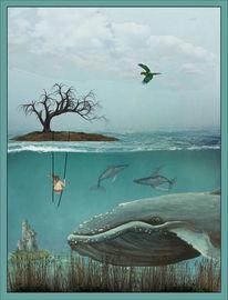 Wasser, Mädchen, Insel, Fantasie
