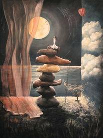 Stein, Vorhang, Frau, Wolken