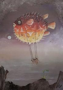 Heißluftballon, Himmel, Nacht, Wasser