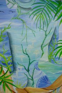Wasser, Frau, Wasser sand, Ölmalerei