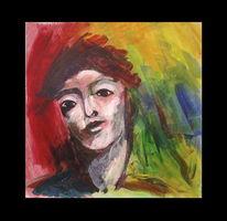 Abstrakt, Gesicht, Rot, Acrylmalerei