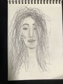 Junge frau, Haare, Bleistiftzeichnung, Ungekämmt