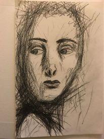 Kohlezeichnung, Junge frau, Gesicht, Zeichnungen