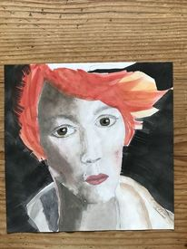 Frau, Aquarellmalerei, Rote haare, Rot