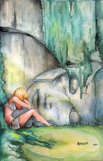 Antik, Statue, Vergessene welten, Illustration