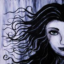 Schwarz weiß, Frau, Locken, Acrylmalerei