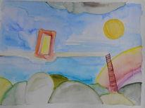Dübler, Himmelsleiter, Aquarellmalerei, Aquarell