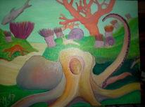 Krake, Ölmalerei, Ölfarben, Tintenfisch