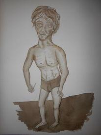 Tuschmalerei, Selbstbildniss als fastakt, Akt, Zeichnungen