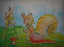 Malerei, Comic, Schnecke, Kunstschnecke