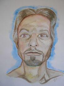 Tuschmalerei, Selbstportrait, Aquarellmalerei, Zeichnungen