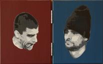 Stencil, Acrylmalerei, Dyptichon, Portrait