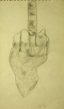 Mittelfinger, Zeichnung, Bleistiftzeichnung, Zeichnungen