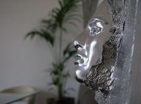 Acrylmalerei, Silber, Skulptur, Modern