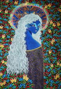 Aureole, Blau, Menschen, Blumen