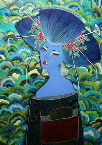 Japan, Blumen, Grün, Unterhaltungskünstlerin